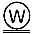 кружок с буквой дабл W в середине и 2 линиями внизу