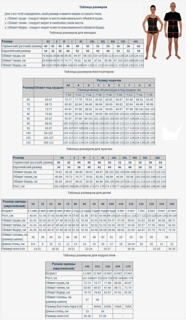 универсальная таблица размеров одежды