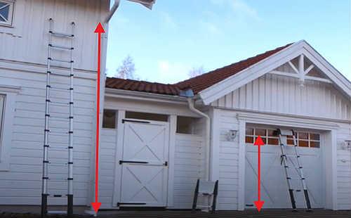 С помощью телескопической стремянки можно достигать разной высоты