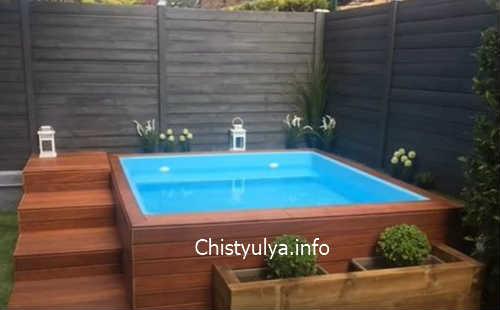 деревянная лестница для бассейна