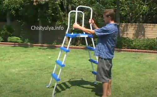 как собрать лестницу для бассейна